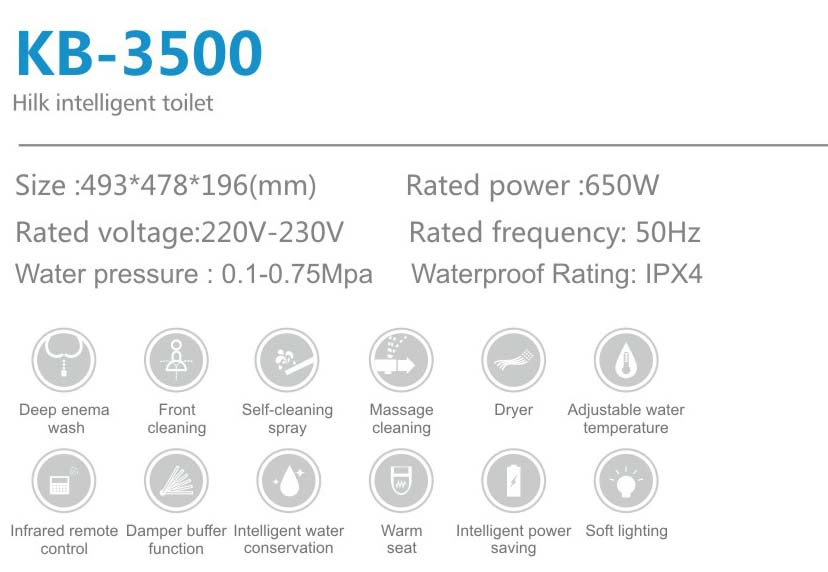 KB3500 Intelligent Toilet Bidet lid cover